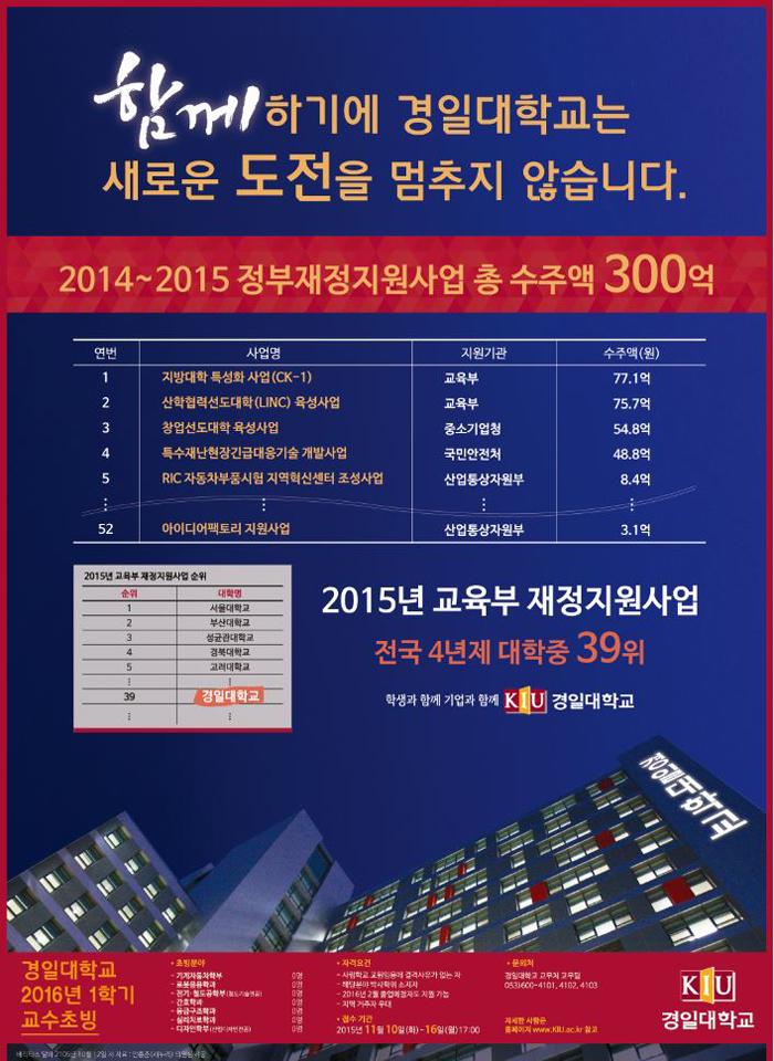 2016년 1학기 교수초빙